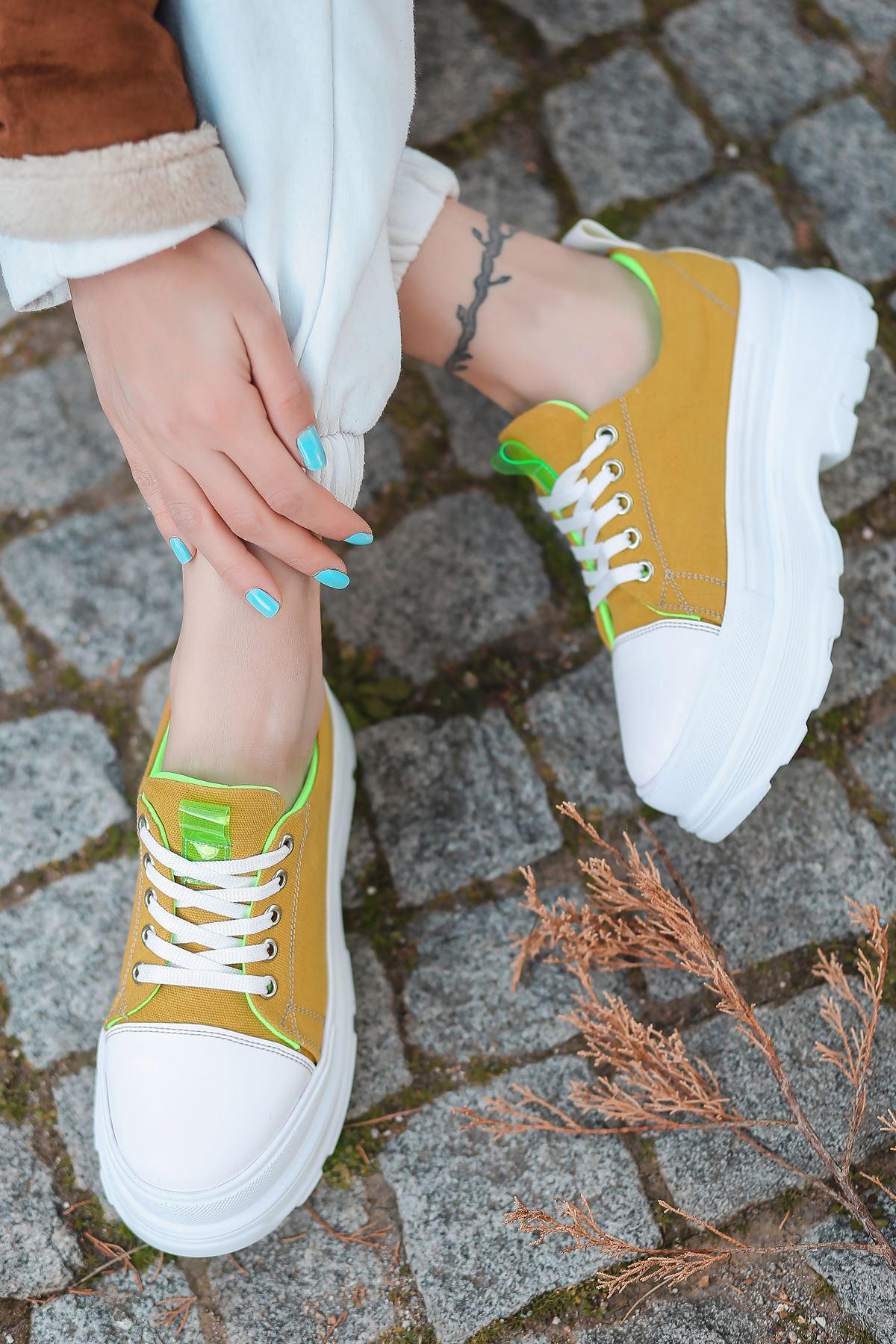 Combo Bağcık Detaylı Hardal Kumaş Kadın Spor Ayakkabı