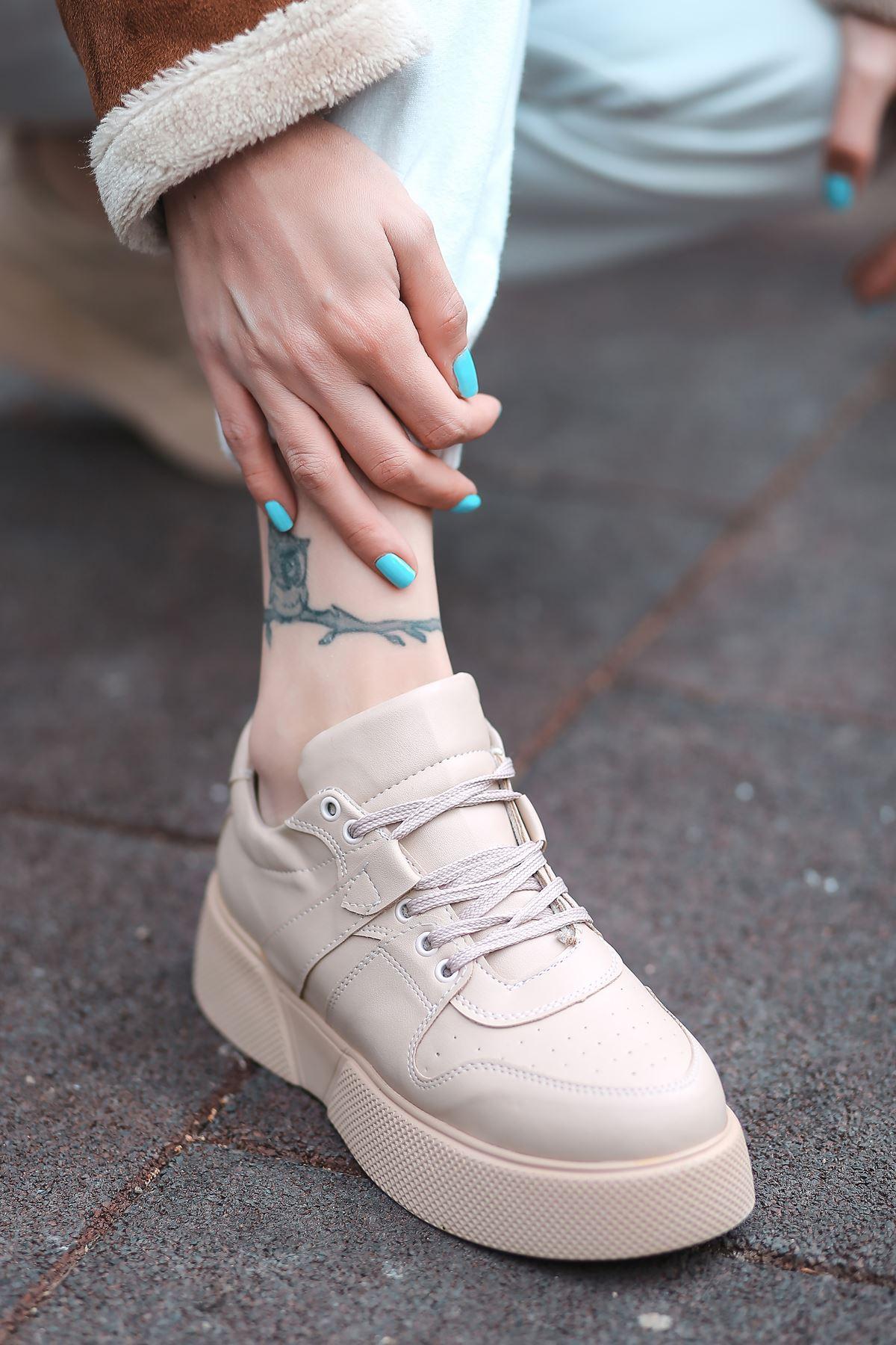 Aletta Mat Deri Bağcık Detaylı Nude Kadın Spor Ayakkabı
