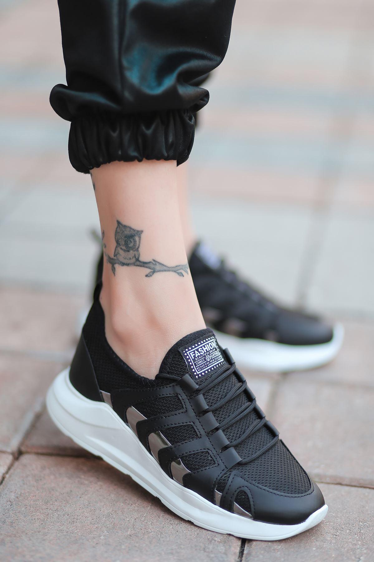 Back Bağcık Detaylı Triko Siyah Hologram Kadın Spor Ayakkabı