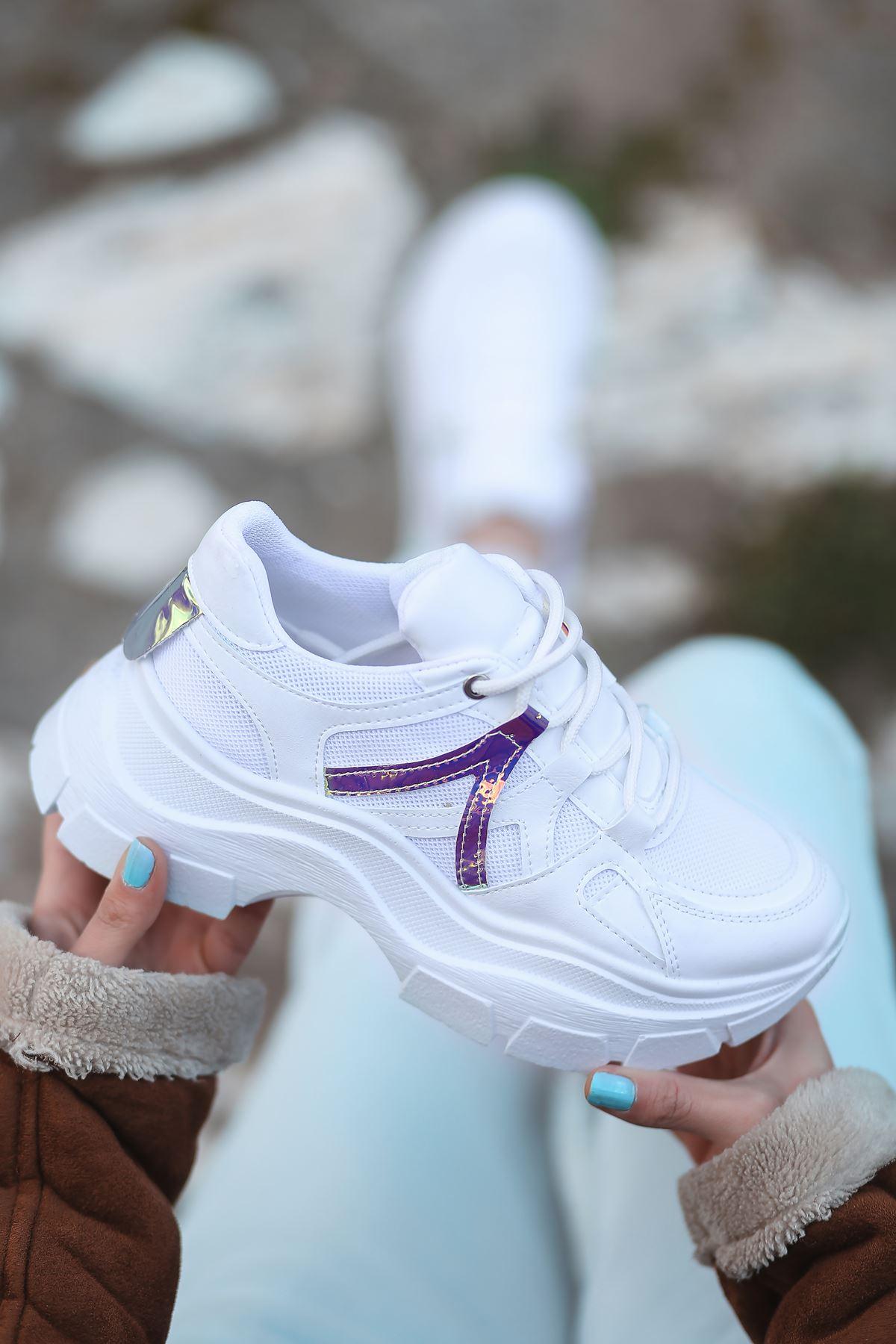 Gabi Bağcık Detaylı Hologram Parçalı Beyaz Kadın Spor Ayakkabı