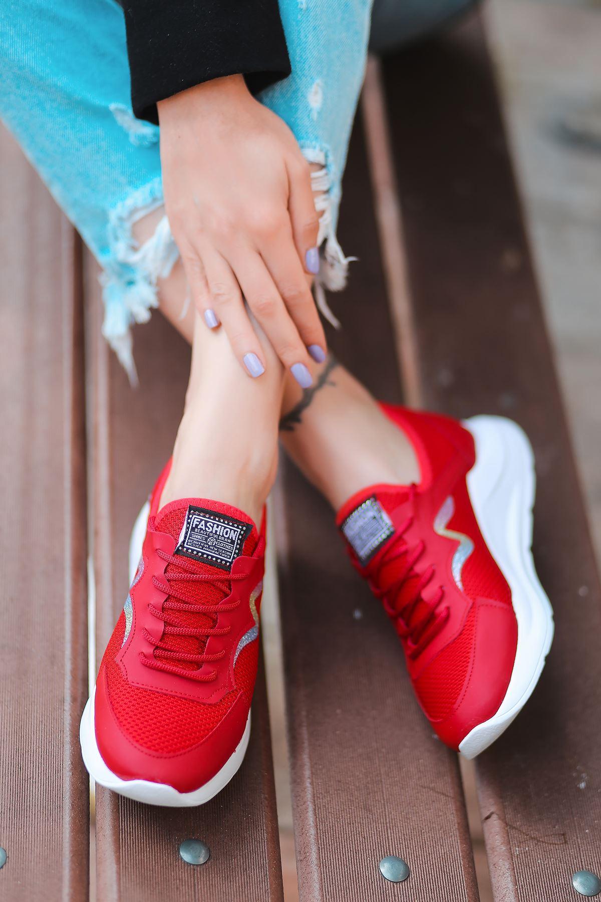 Holo Bağcık Detaylı Triko Kırmızı Simli Kadın Spor Ayakkabı