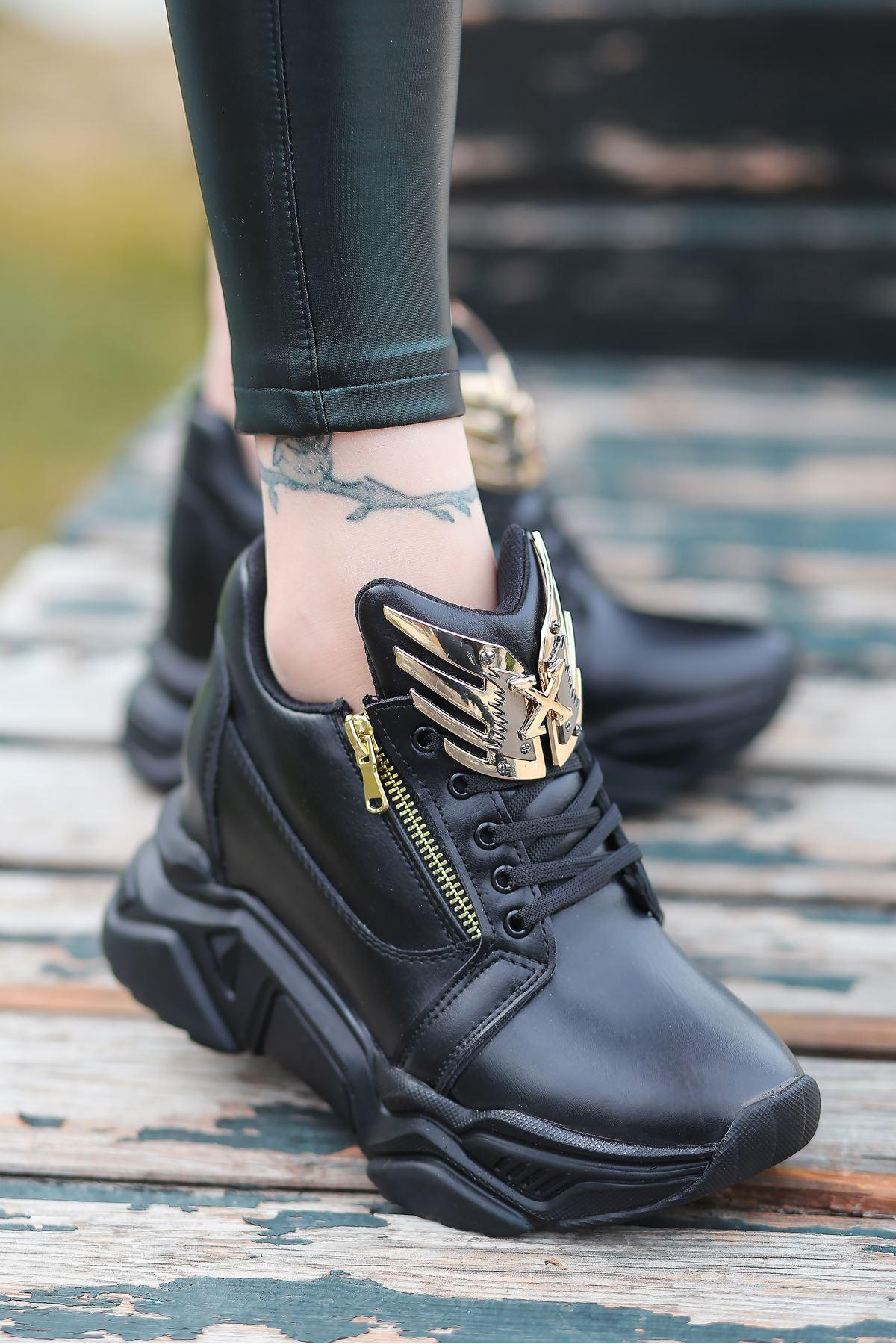 Eagle Mat Deri Toka Detay Gizli Topuk Spor Ayakkabı Siyah