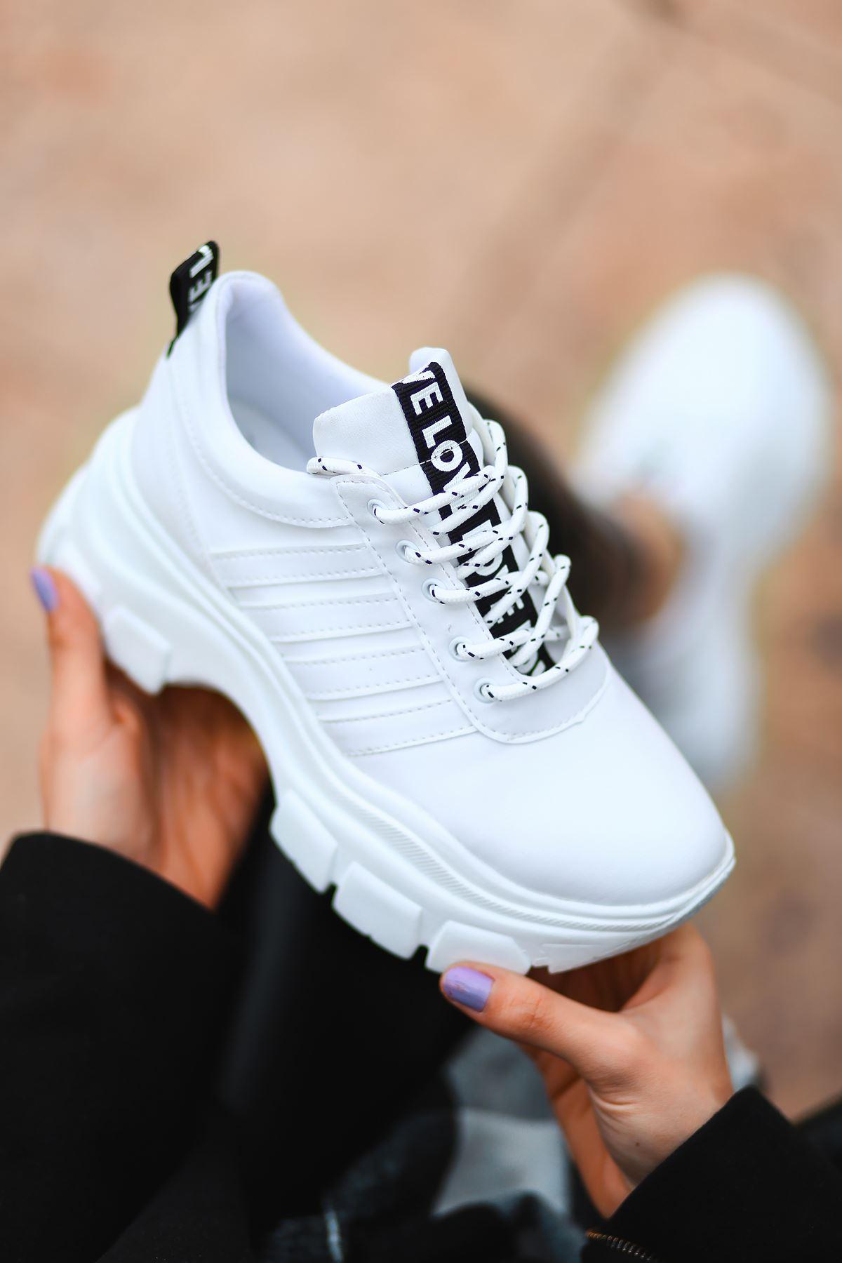 Rapso Mat Deri Yazı Detay Spor Ayakkabı Beyaz