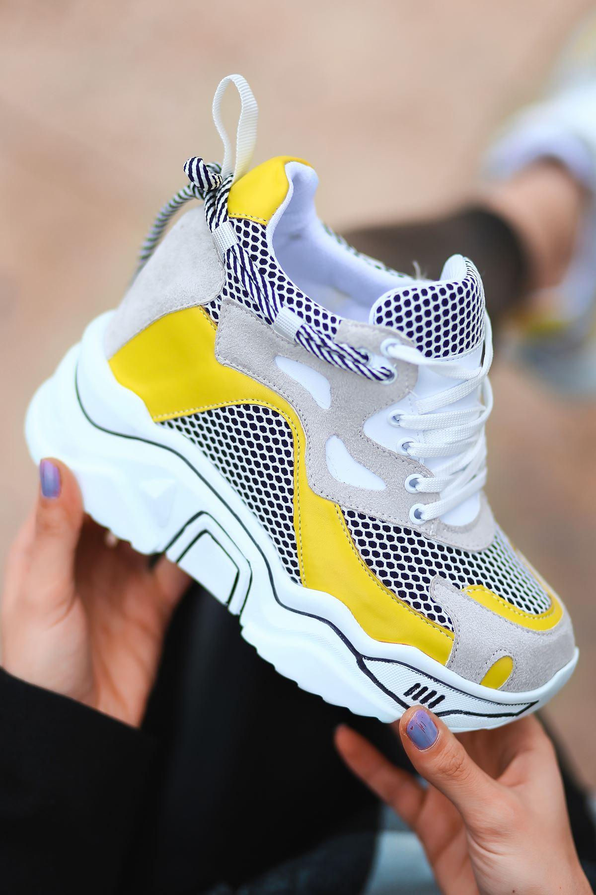 Chelsea File Detaylı Hologramlı Yüksek Topuklu Sarı Parçalı Beyaz Kadın Spor Ayakkabı