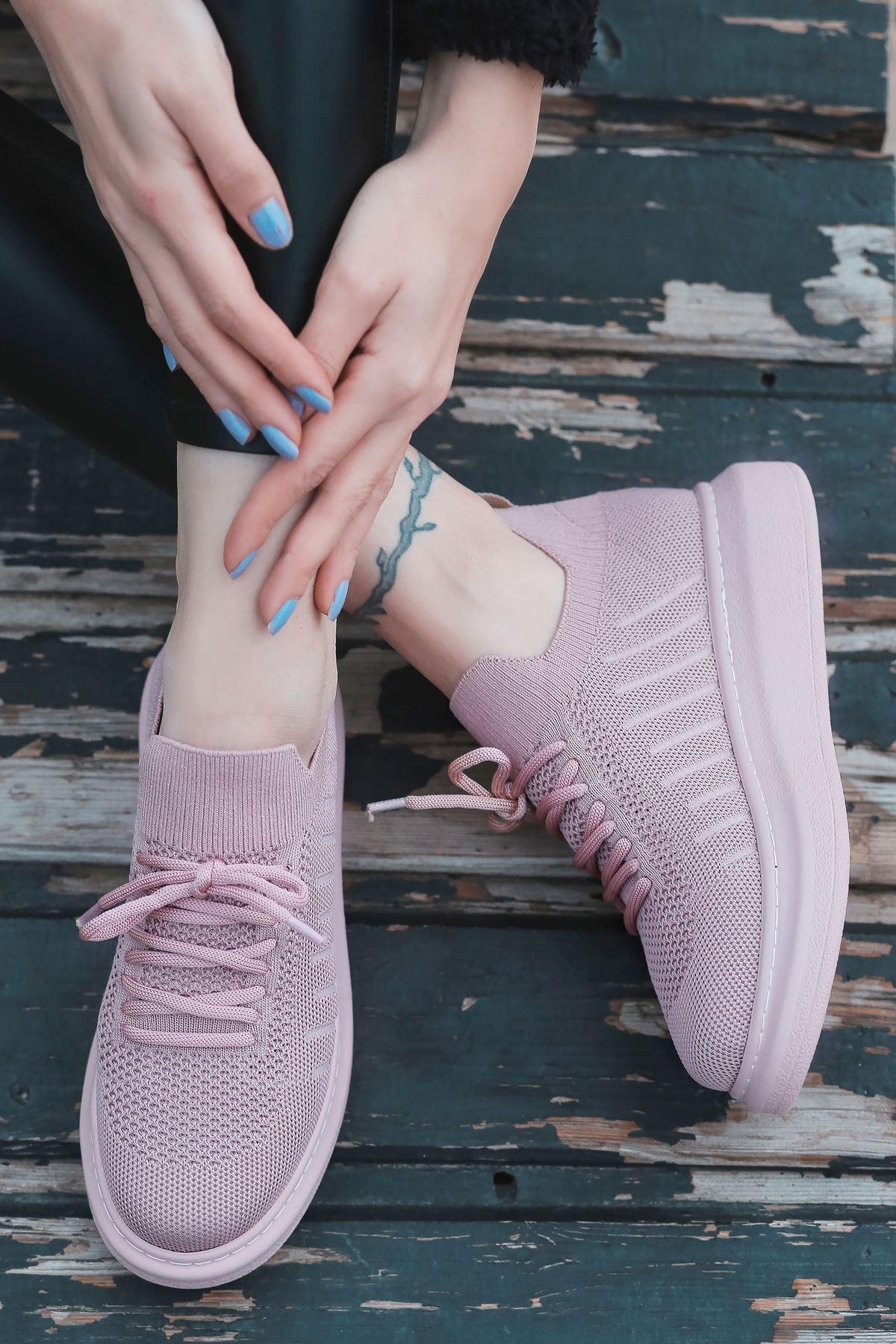 That Bağcık Detay Pudra Triko Kadın Spor Ayakkabı