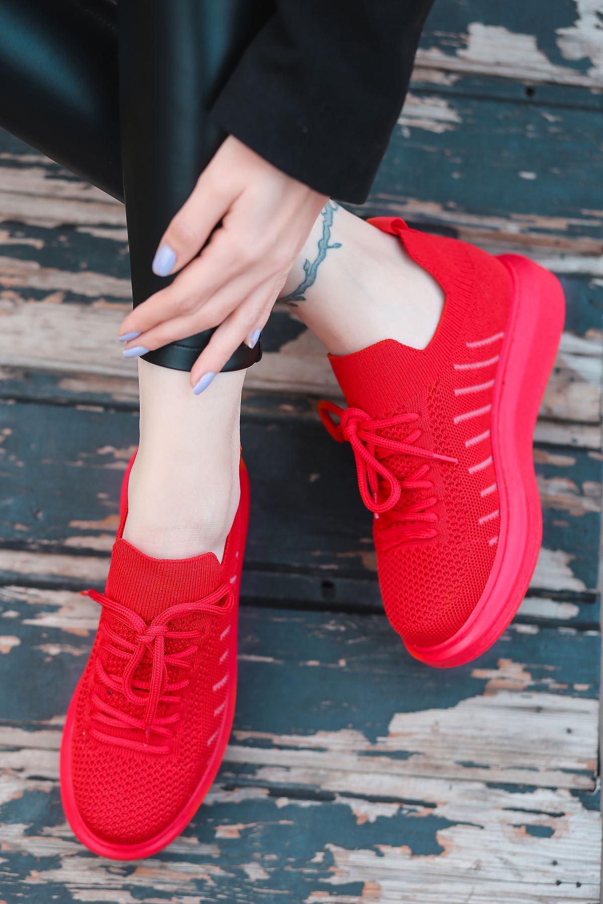 That Bağcık Detay Kırmızı Triko Kadın Spor Ayakkabı