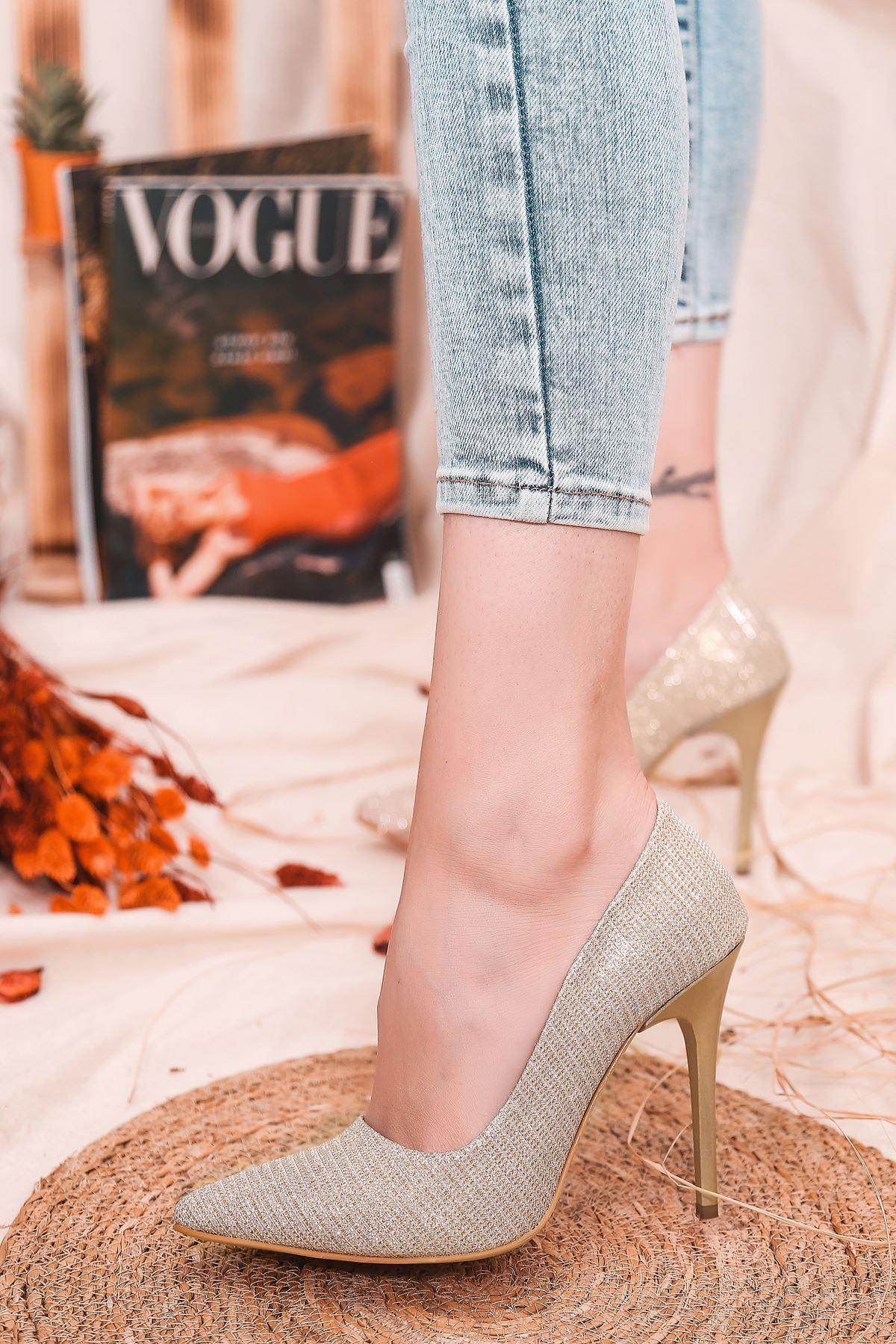 Ruha Yüksek Topuklu Gold Kadın Stiletto