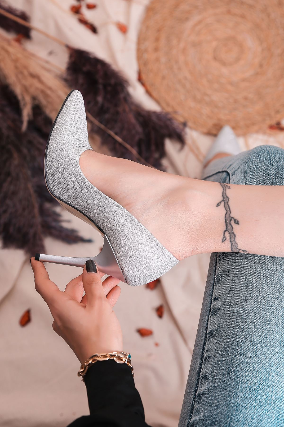 Ruha Yüksek Topuklu Gümüş Kadın Stiletto
