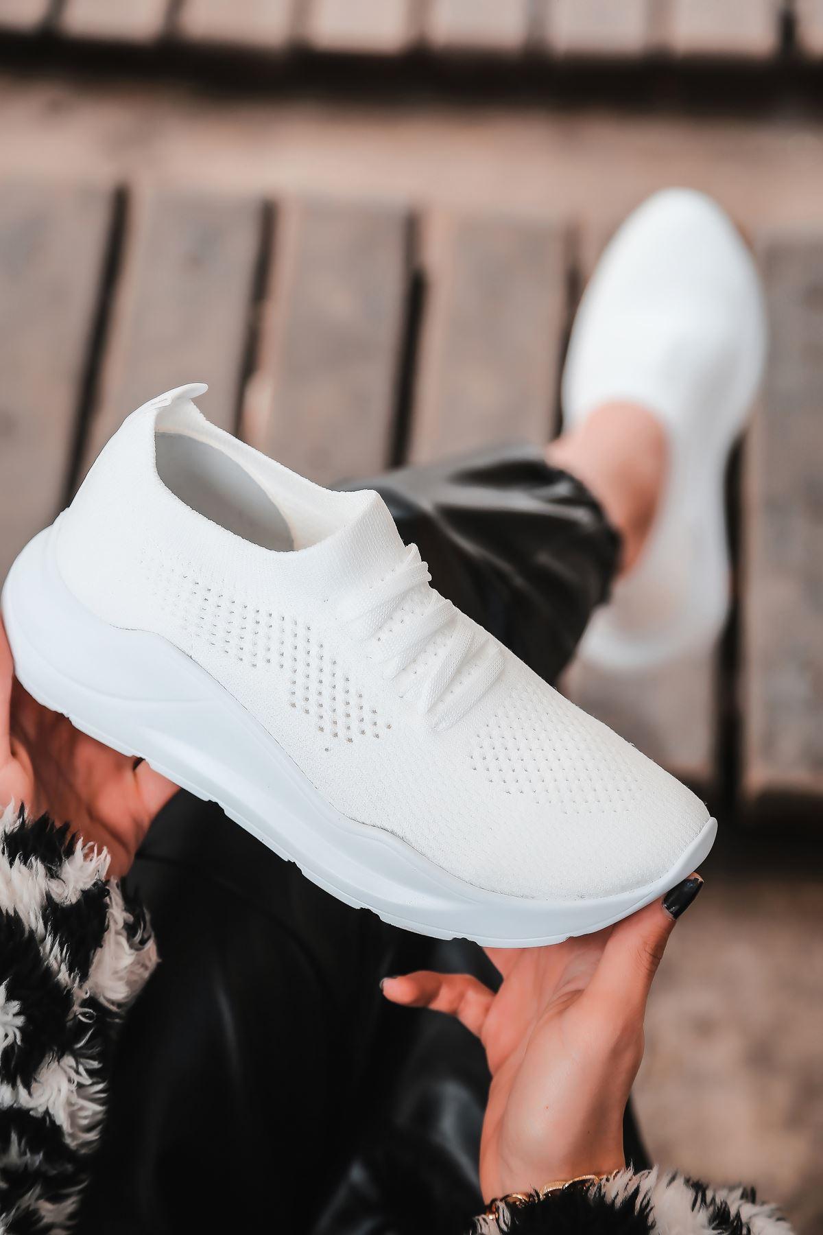 Bertha Bağcık Detaylı Beyaz Triko Kadın Spor Ayakkabı