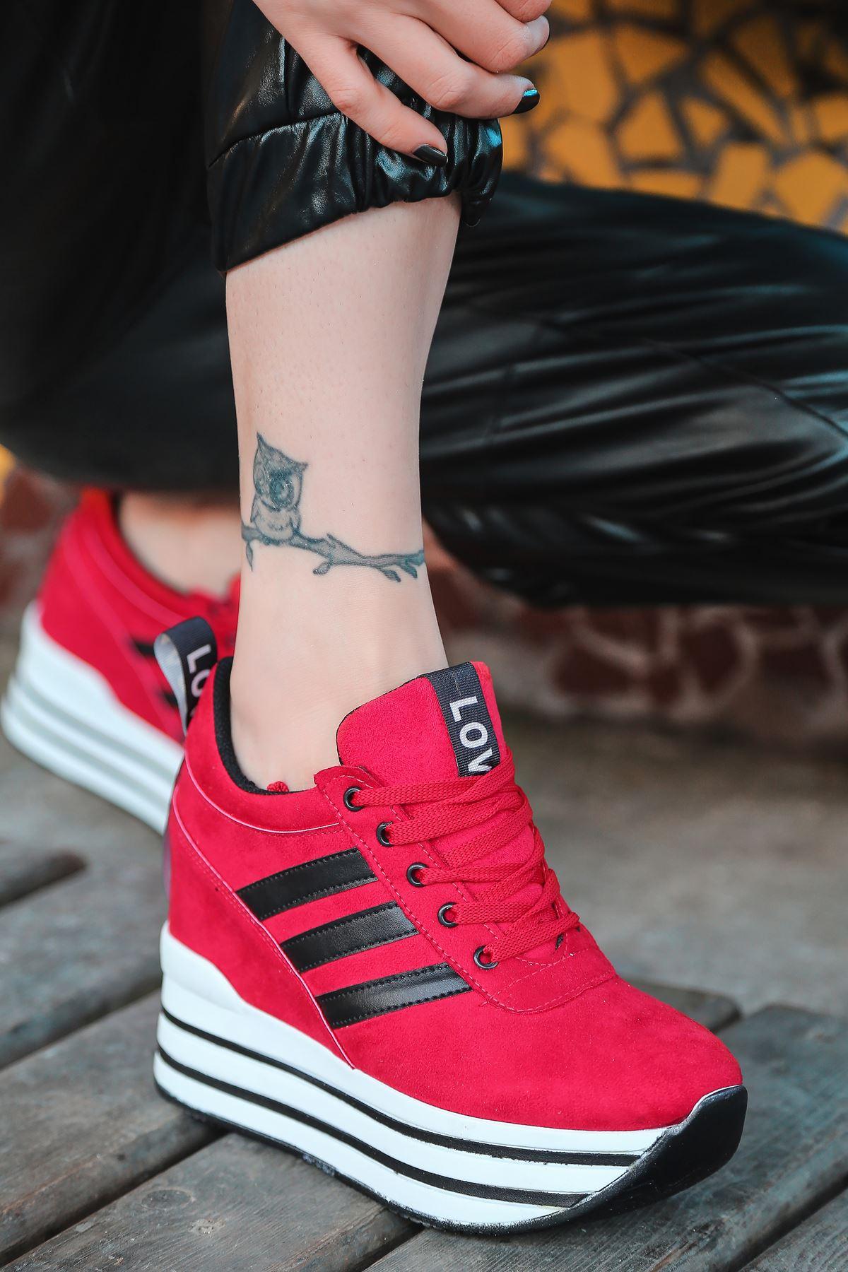 Zodyak Bağcık Detaylı Hologramlı Kırmızı Süet Kadın Spor Ayakkabı