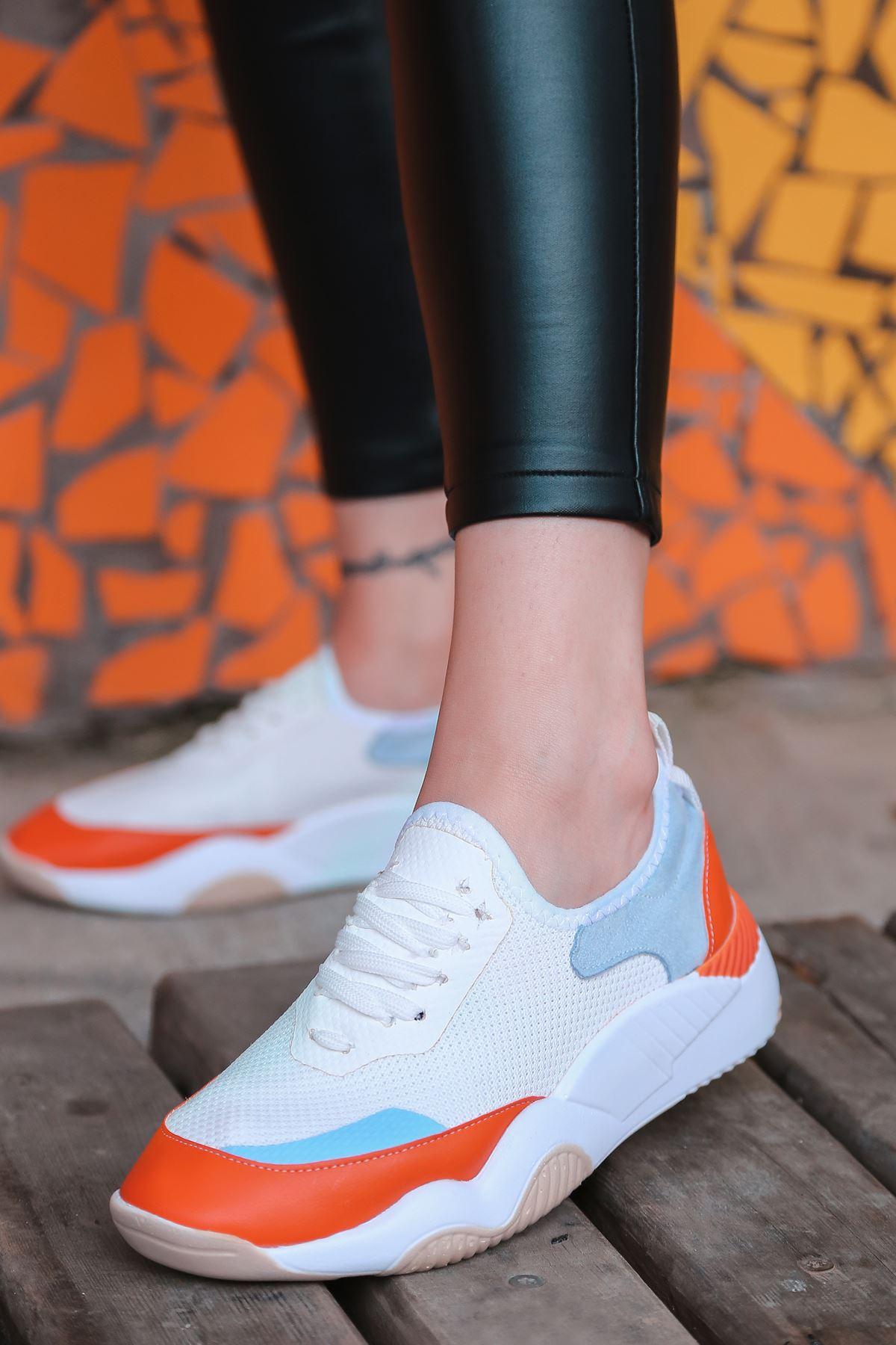 Rovina Mavi Turuncu Parçalı Bağcık Detaylı Beyaz Kadın Spor Ayakkabı