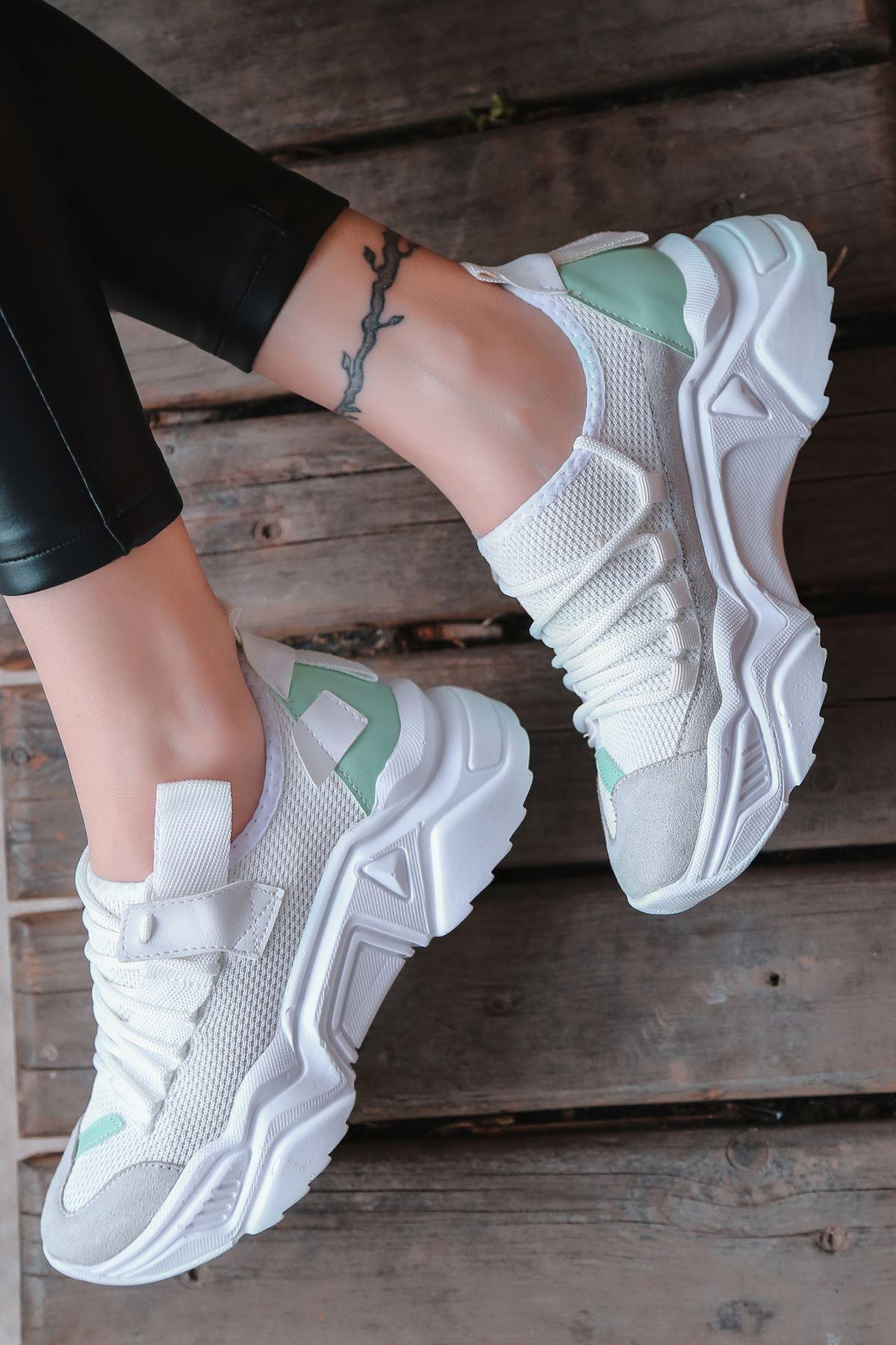 Jabel Beyaza Beyaz Parçalı Bağcıklı File Detaylı Beyaz Kadın Spor Ayakkabı