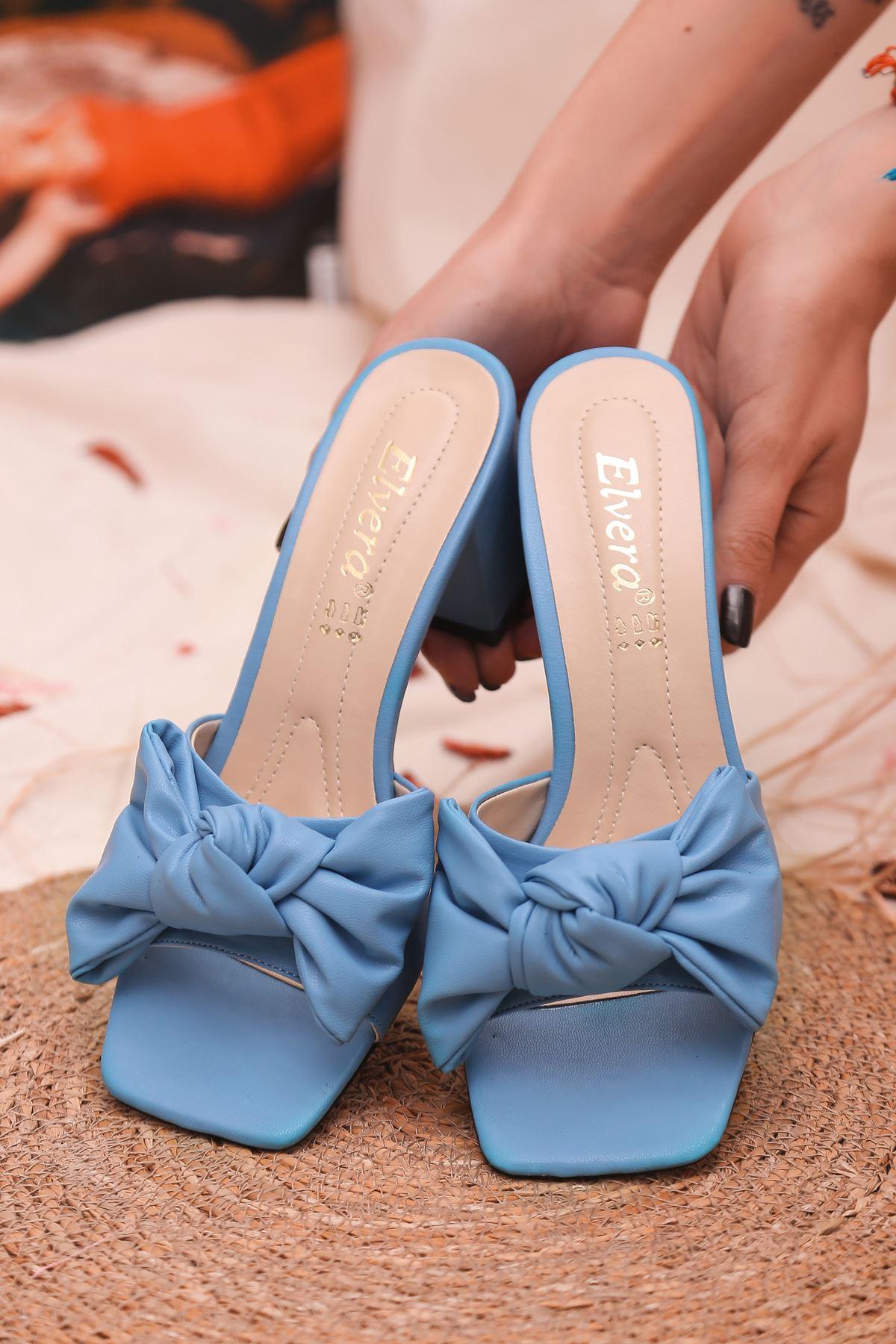 Ribbon Fiyonk Detaylı Taba Mat Deri Kadın Topuklu Terlik Mavi