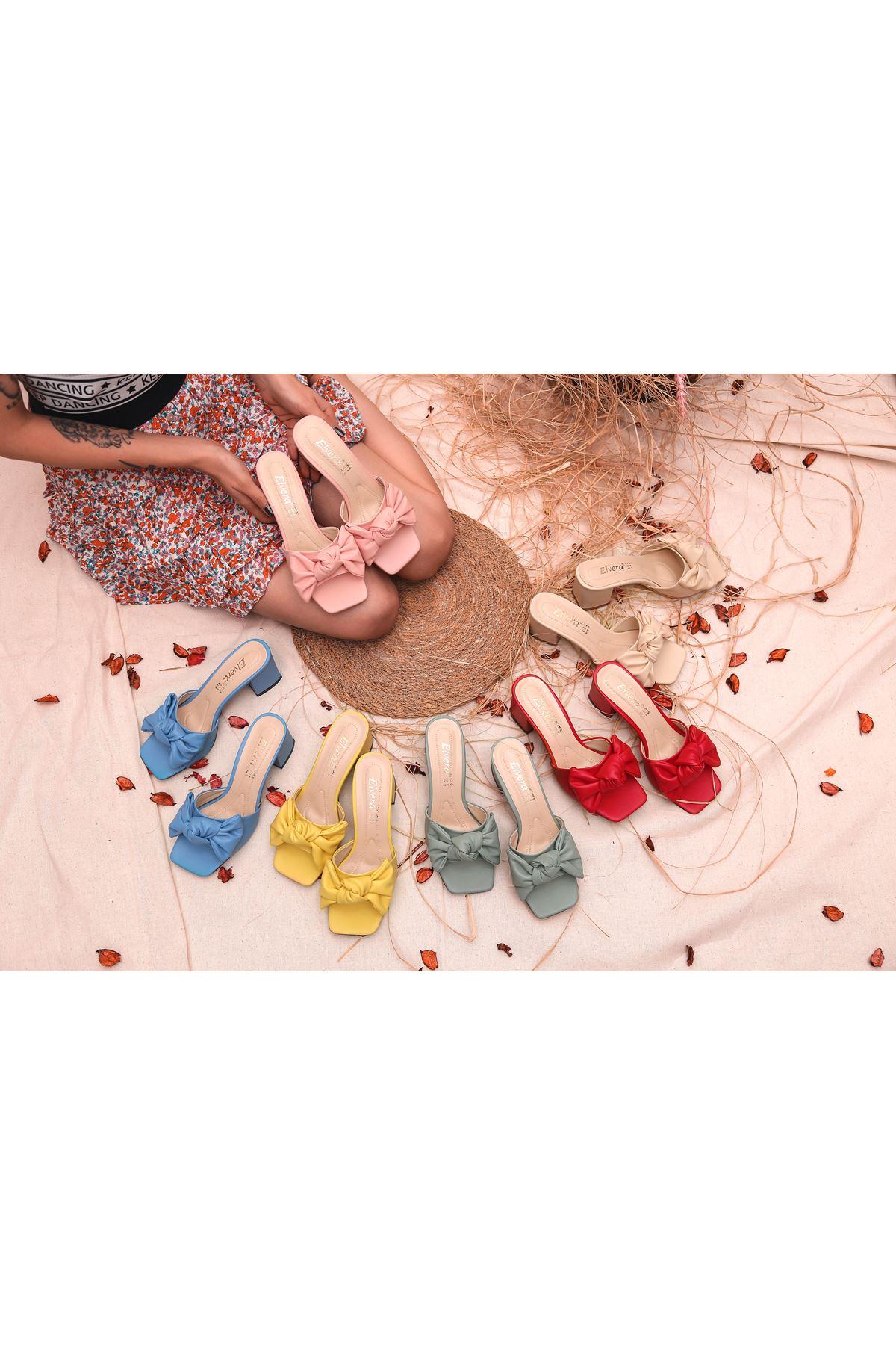 Ribbon Fiyonk Detaylı Taba Mat Deri Kadın Topuklu Terlik Sarı