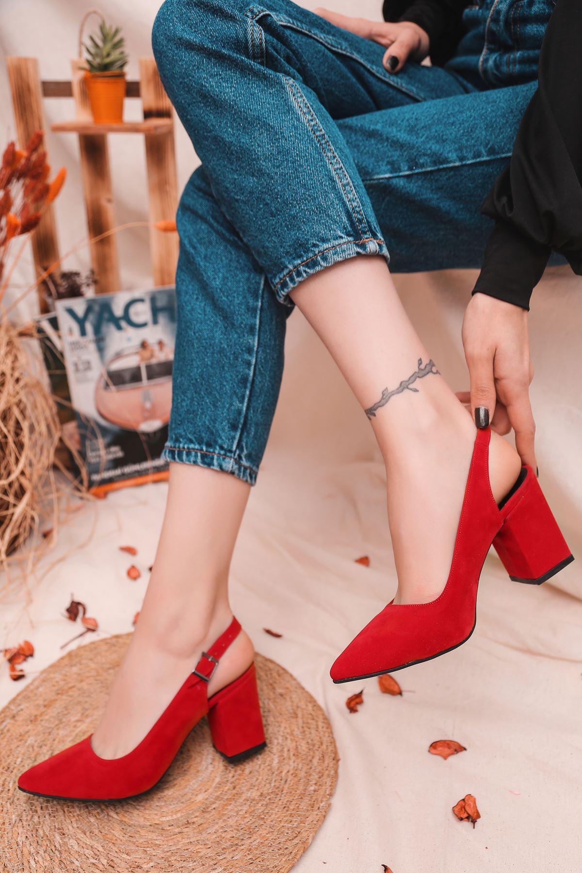 Humol Kırmızı Süet Kadın Topuklu Ayakkabı