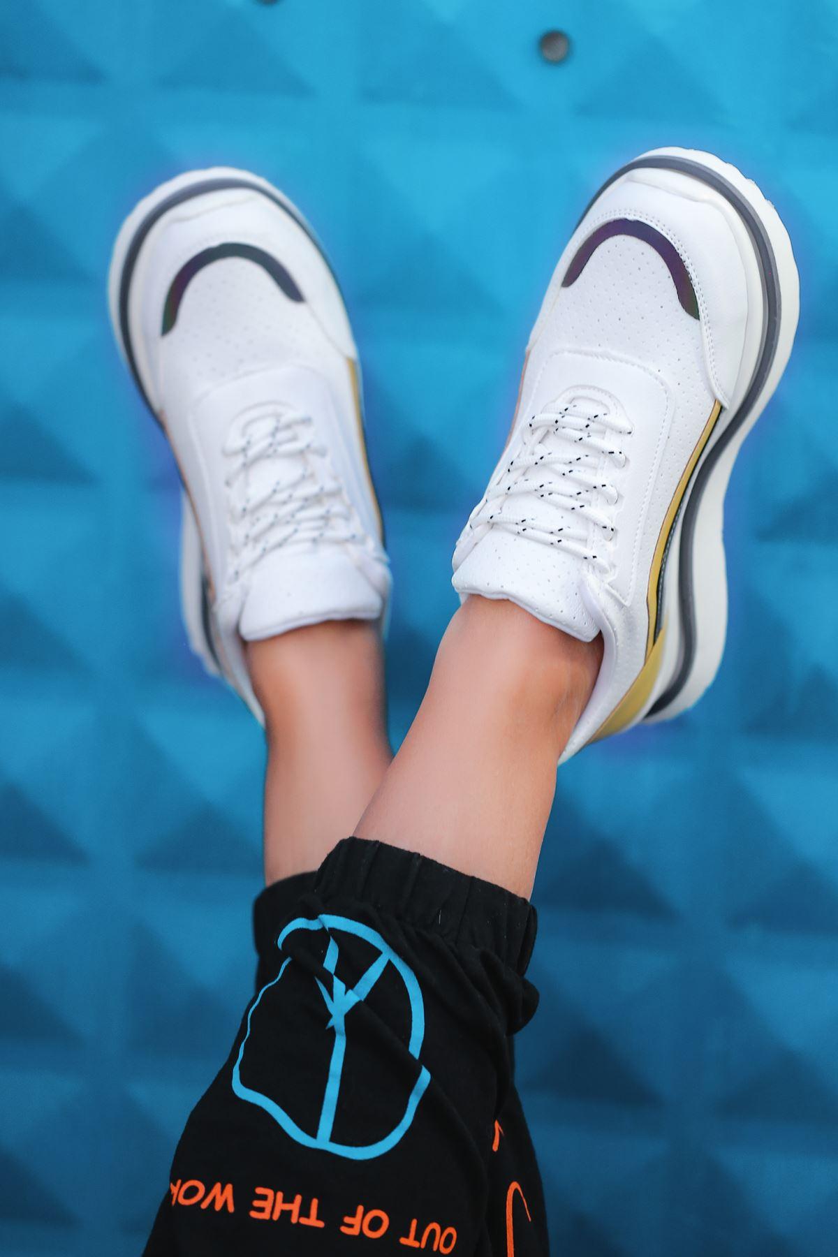 Kartel Bağcık Detaylı Delikli Hologramlı Sarı Mavi Kadın Spor Ayakkabı