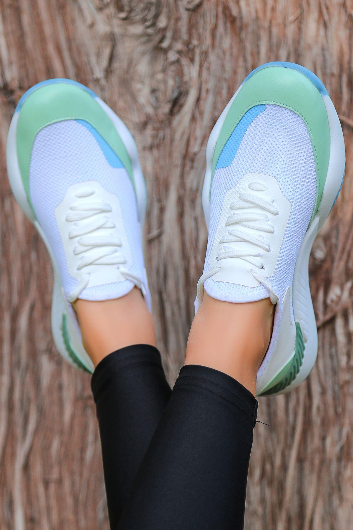Rovina Mavi Parçalı Mavi Tabanlı Bağcık Detaylı Beyaz Kadın Spor Ayakkabı