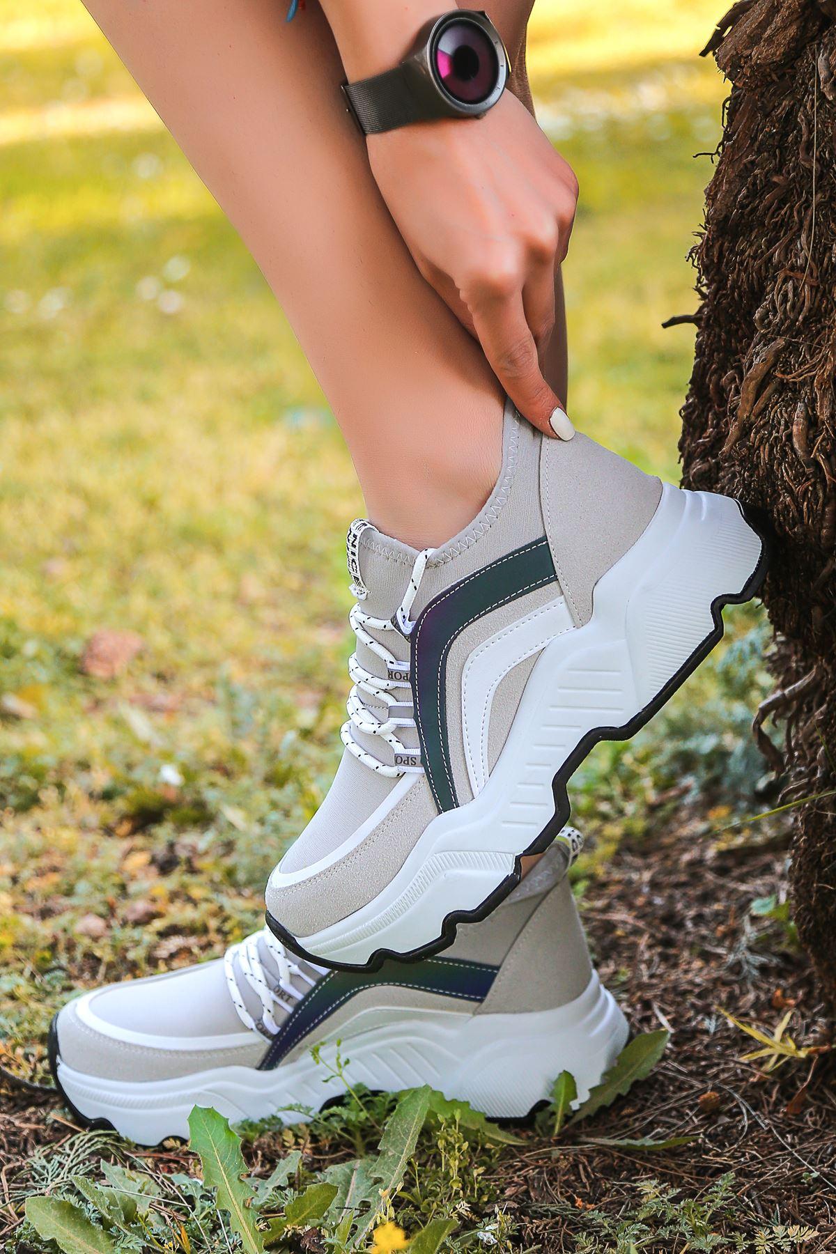 Pedro Bağcık Detaylı Hologramlı Gri Kadın Spor Ayakkabı