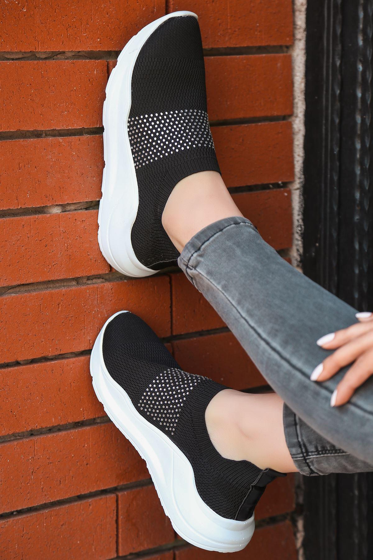 Mile Taş Detaylı Siyah Triko Kadın Spor Ayakkabı