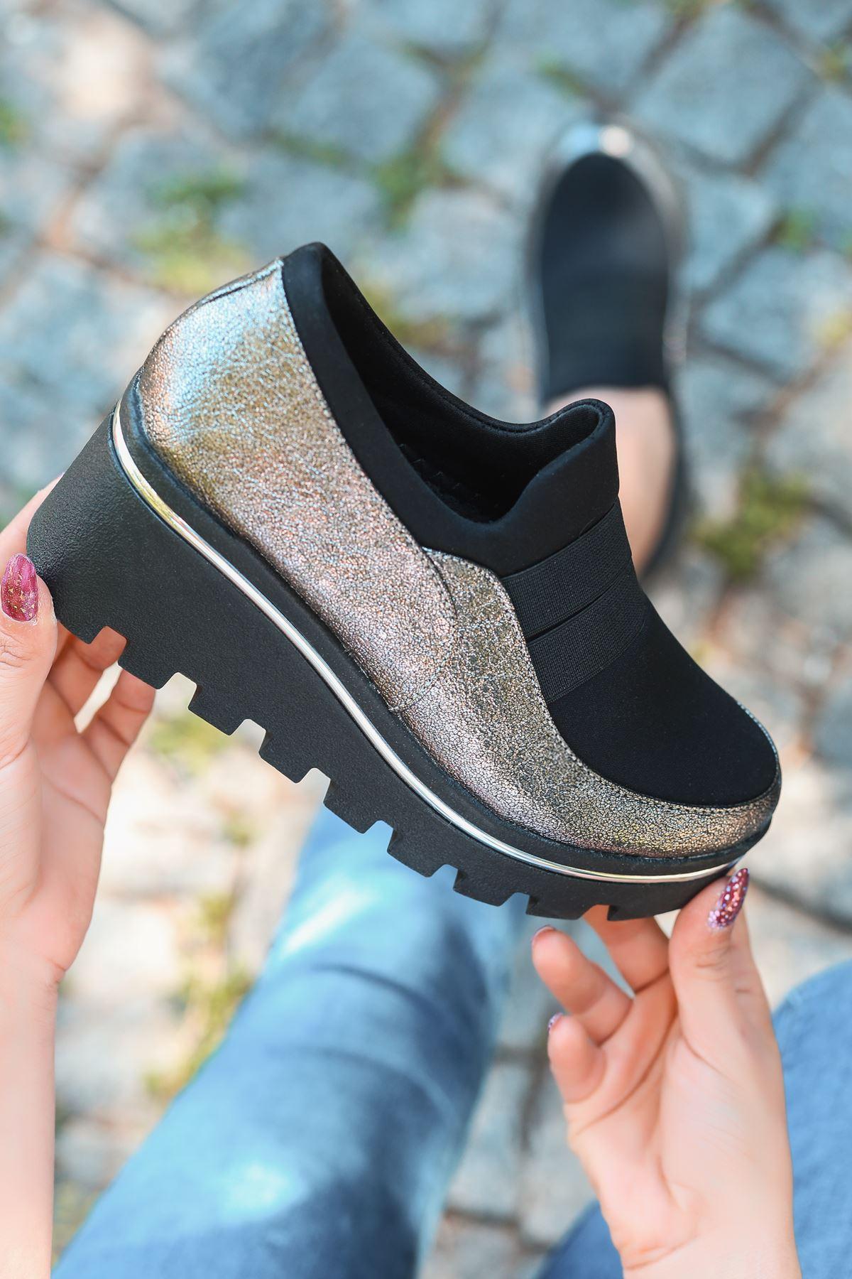 Bratz Lastik Detay Dolgu Topuk Ayakkabı Platin