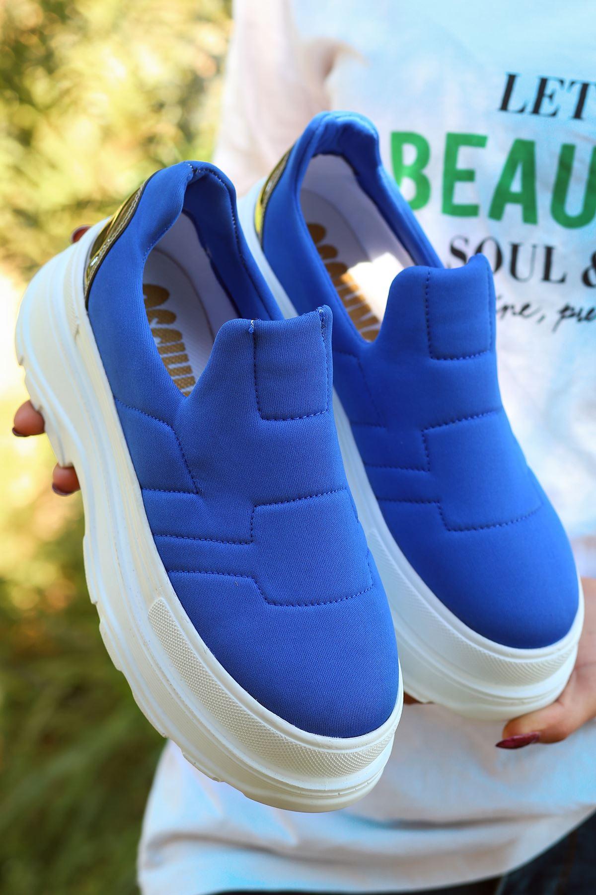 Alita Kalın Taban Mavi Kadın Ayakkabı BT