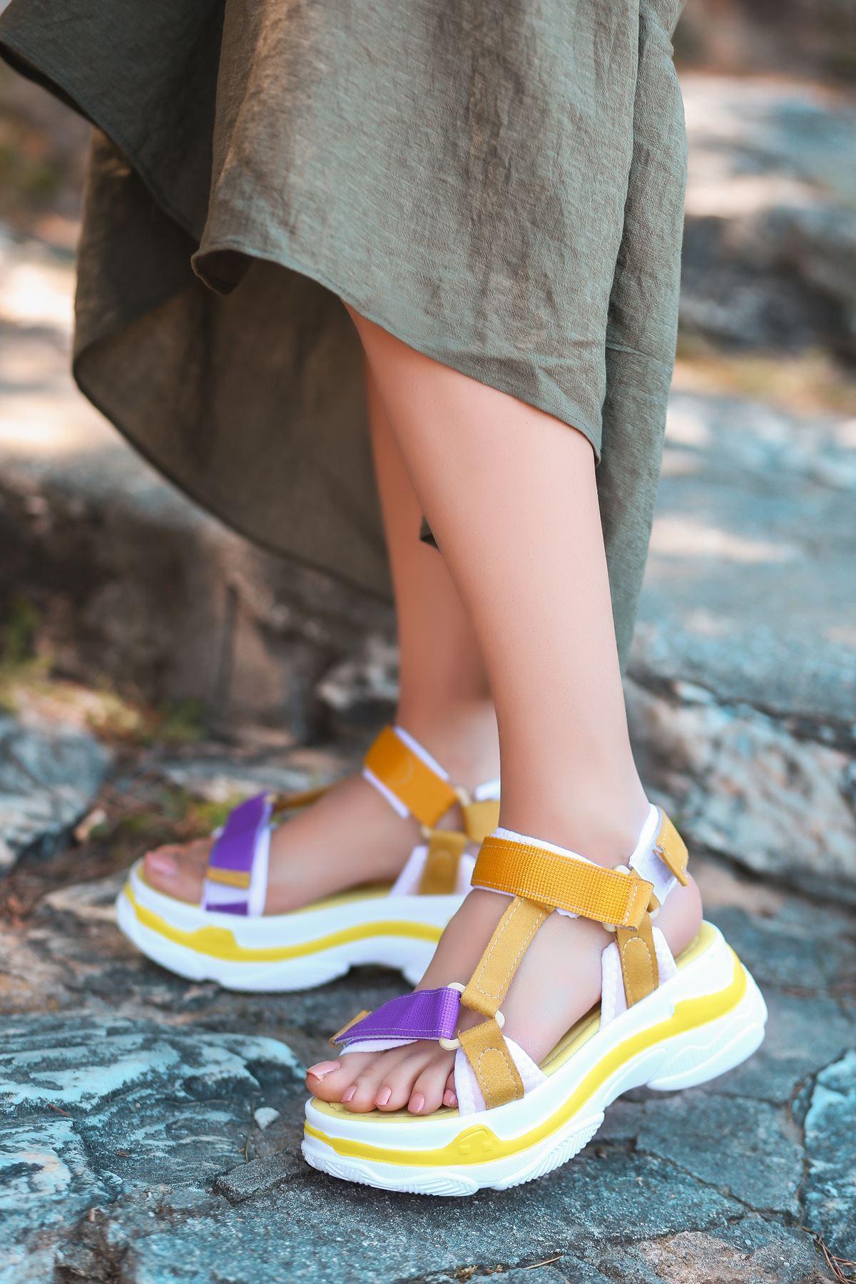 Leon Mor Turuncu Yüksek Taban Kadın Sandalet