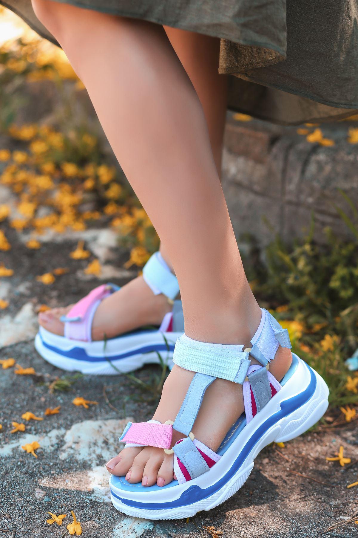 Leon Bebek Mavi Pembe Yüksek Taban Kadın Sandalet