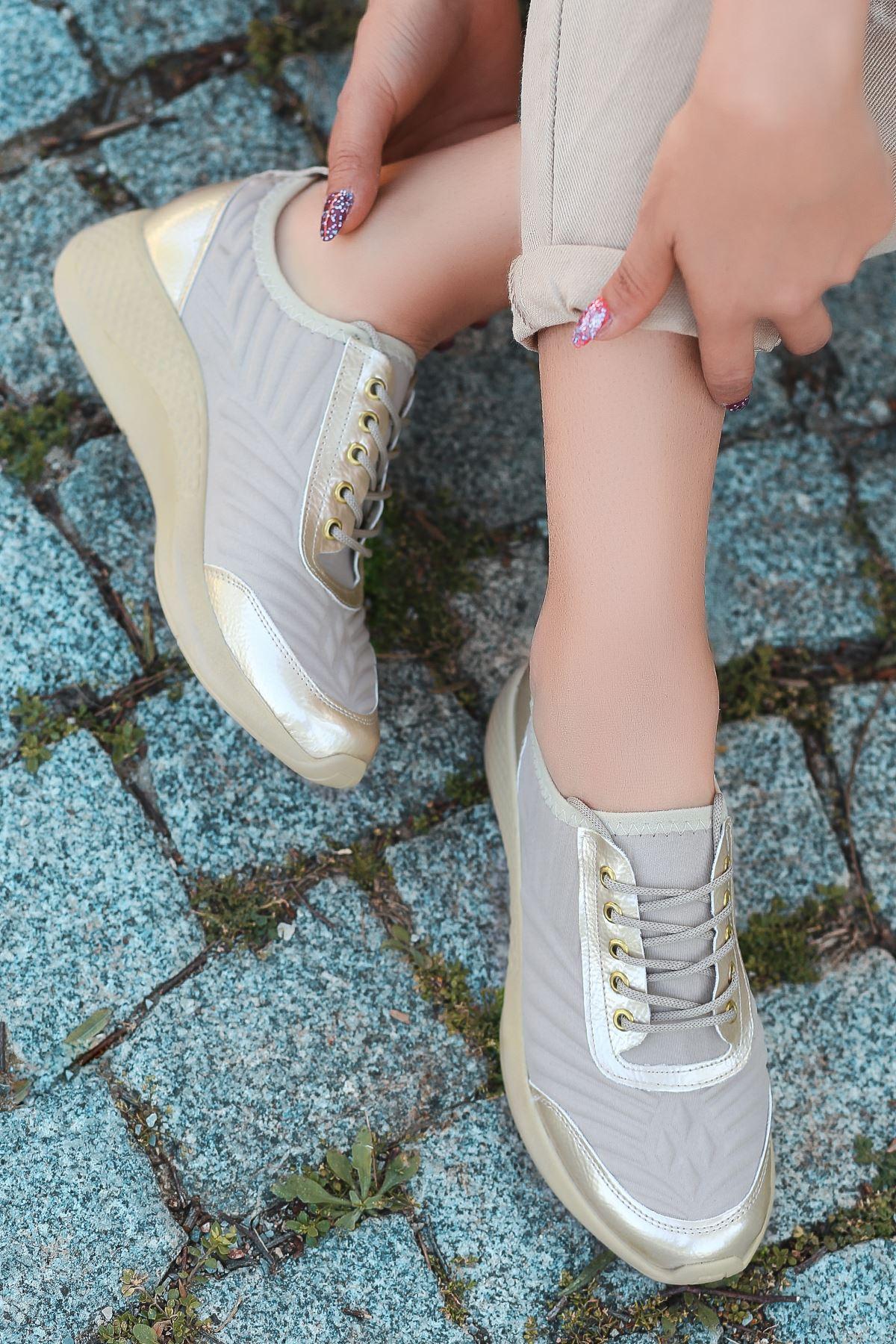 Otuzbes 2022 Kabartma Baskılı Günlük Spor Bej Kadın Spor Ayakkabı