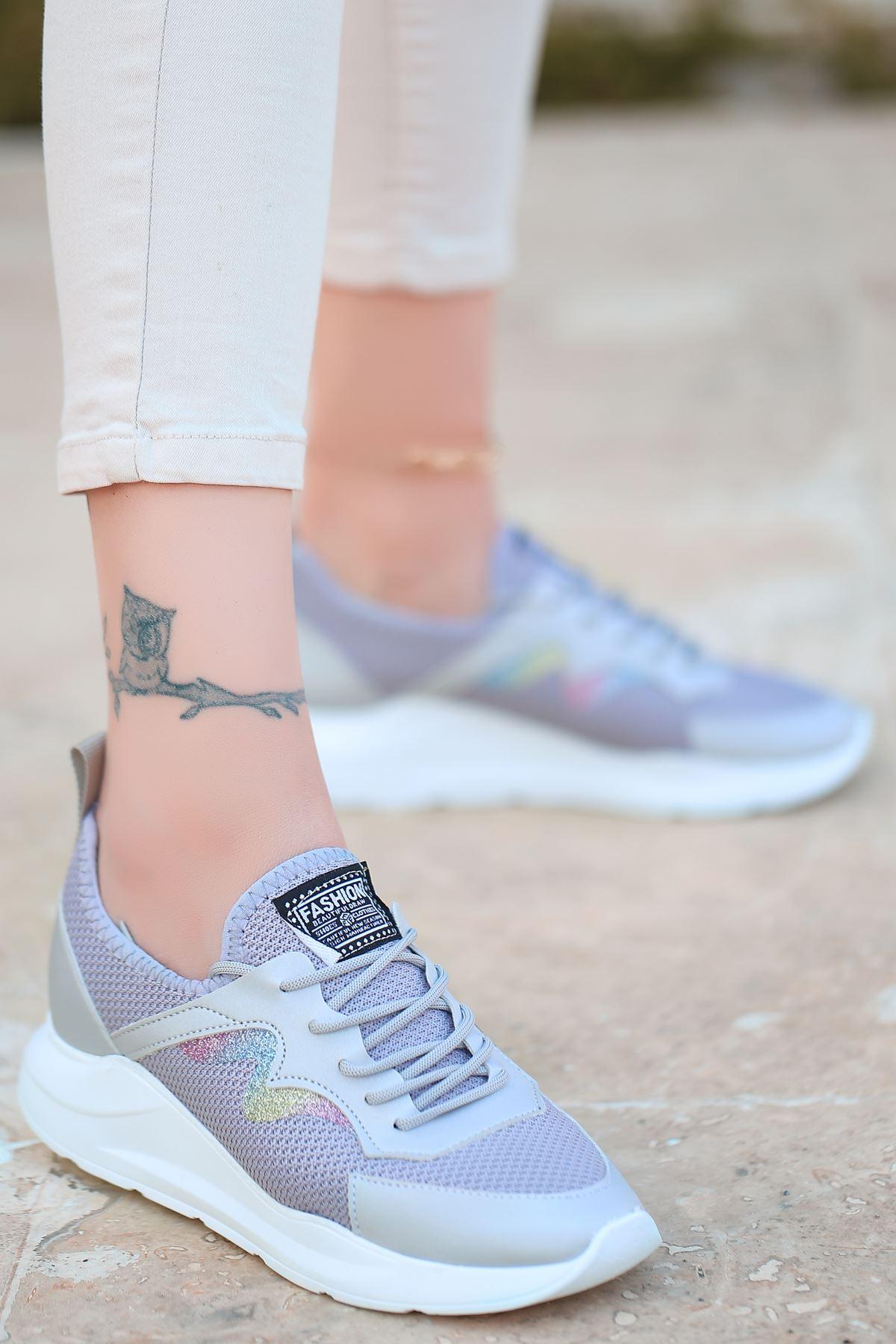 Holo Bağcık Detaylı Triko Gri Simli Kadın Spor Ayakkabı