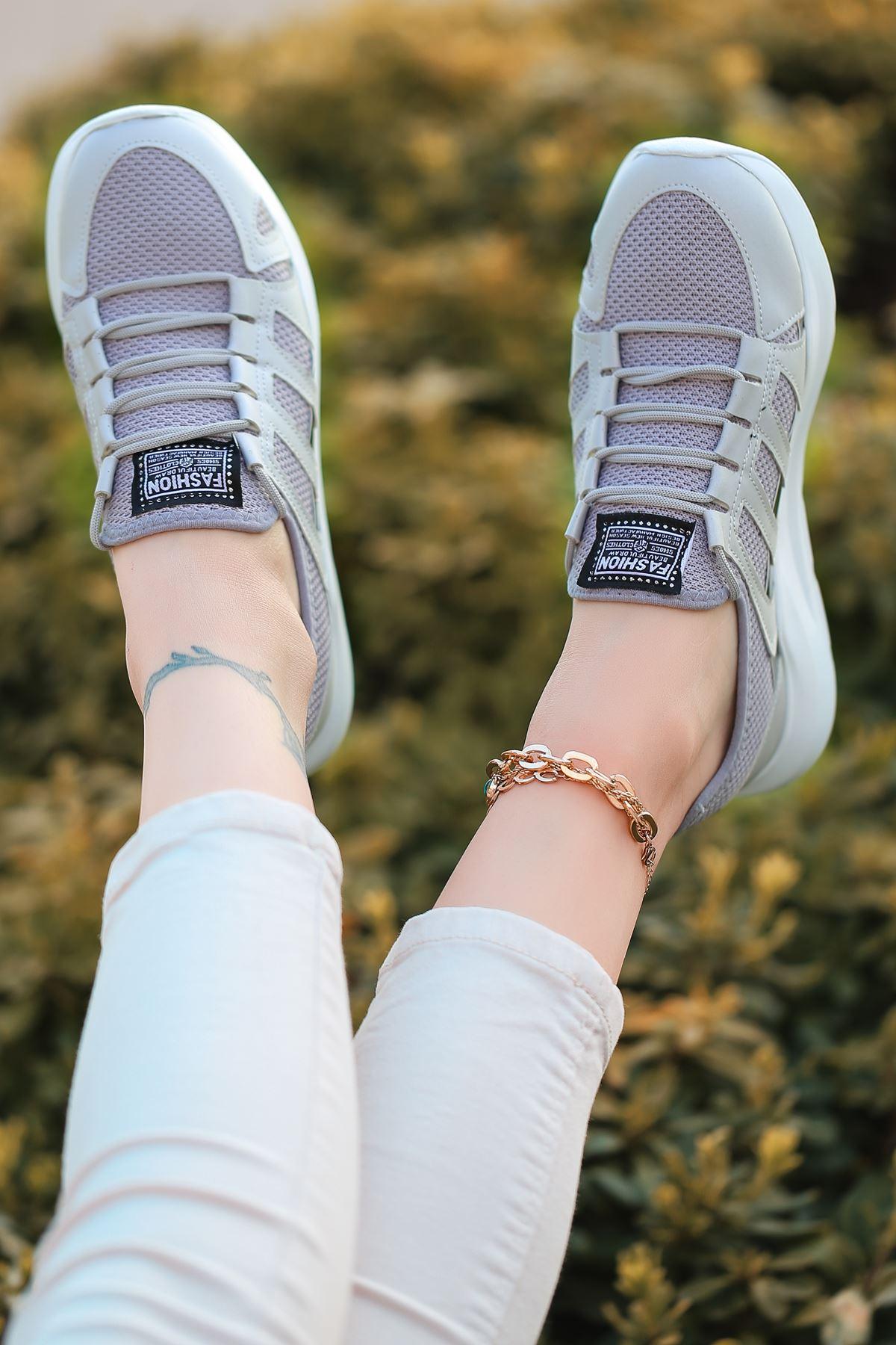 Back Bağcık Detaylı Triko Gri Hologram Kadın Spor Ayakkabı