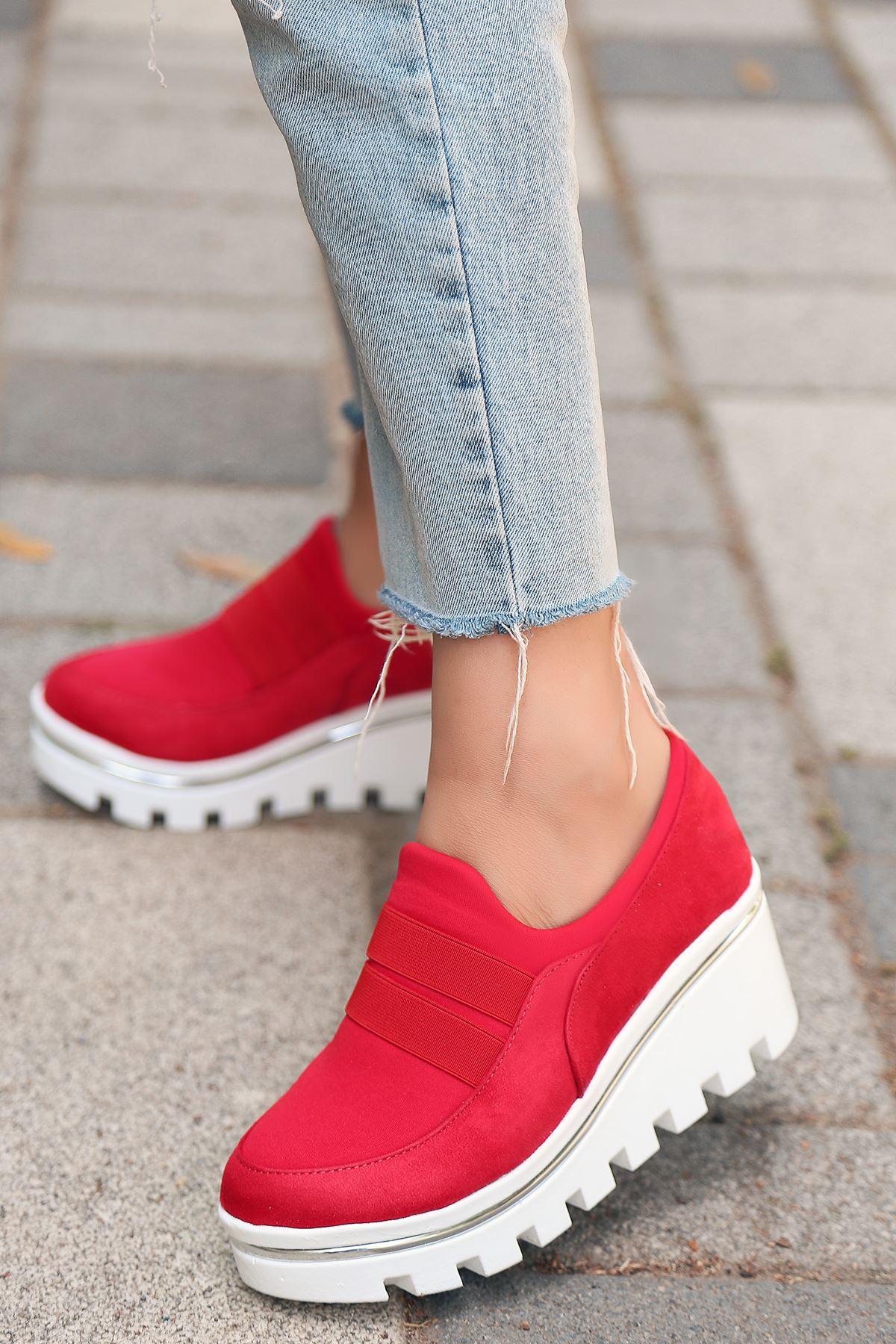 Bratz Lastik Dolgu Topuk Ayakkabı Kırmızı Süet