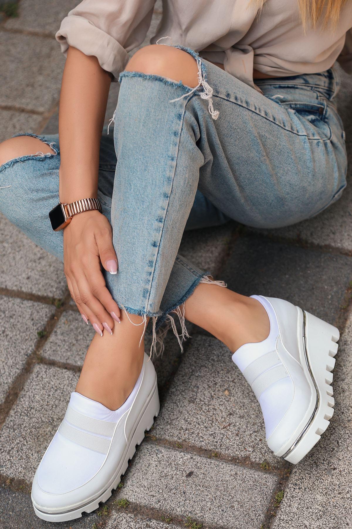 Bratz Lastik Dolgu Topuk Beyaz Kadın Ayakkabı