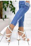 Diva Mat Deri Yüksek Topuklu Kadın Ayakkabı Beyaz