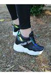 Vena Bağcık Detaylı Yüksek Topuk Siyah Kadın Spor Ayakkabı