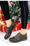 Derina Mat Deri Bağcık Detay Ayakkabı Haki