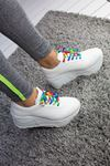 Zeyna Mat Deri Renkli Bağcık Detay Yüksek Tabanlı Spor Ayakkabı Beyaz