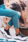 Fashion 500 Mat Deri Yazı Detay Spor Ayakkabı Siyah Beyaz
