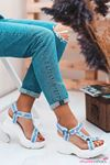 Melisa Taş Detay Dolgu Topuk Sandalet Mavi