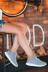 Vira Süet Lazer Kesim Detay Kadın Spor Ayakkabı Mavi