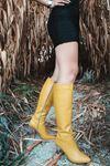 Luisa Şeffaf Topuk Detaylı Hardal Uzun Kadın Çizme