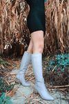 Luisa Şeffaf Topuk Detaylı Gri Uzun Kadın Çizme