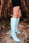 Luisa Şeffaf Topuk Detaylı Turkuaz Uzun Kadın Çizme