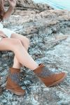 Costa Taş Detaylı Taba Süet Gizli Topuk Kadın Çizme