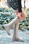West Bağcık Detaylı Vizon Süet Uzun Kadın Postal