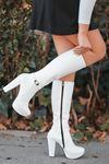 Rumeya Mat Deri Toka Detay Platform Çizme Beyaz