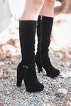 Rumeya Süet Toka Detay Platform Çizme Siyah