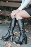Rayna Mat Deri İp Detay Platform Siyah Çizme
