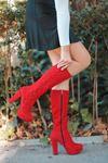 Rayna İp Detay Platform Kırmızı Süet Çizme
