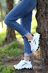 Lavinia-5388 Siyah Rugan Detaylı Bağcıklı Beyaz Kadın Spor Ayakkabı