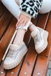 Rotela Dikiş Detaylı Bağcıklı Vizon Kadın Spor Ayakkabı